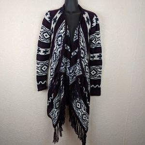 CLOUD CHASER Womens Tribal Fringe Open Cardigan